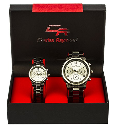 Charles Raymond ''Basic Chronograph Look'' His and Hers Watch Set with Silvertone and Black Metal Band & Silvertone Face