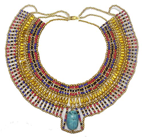 Egyptian Hand Made Multi Beaded Scarab Beetle Beads Cleopatra Nefertiti Queen Style Necklace Collar Choker Pendant Christmas Halloween Ancient Egypt Pharaoh Costume Accessory Jewelry Belly Dance 234