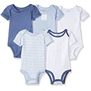 Lamaze Baby Organic Essentials 5 Pack Shortsleeve Bodysuits, Blue, 9M