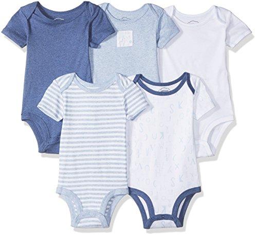LAMAZE Organic Baby Baby Boy Organic Essentials 5 Pack Shortsleeve Bodysuits, Blue, 12M