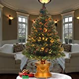 National Tree 36 Inch Fiber Optic Evergreen Firework Tree with Multicolor Lights in Gold Base (SZEX7-100L-36-1)