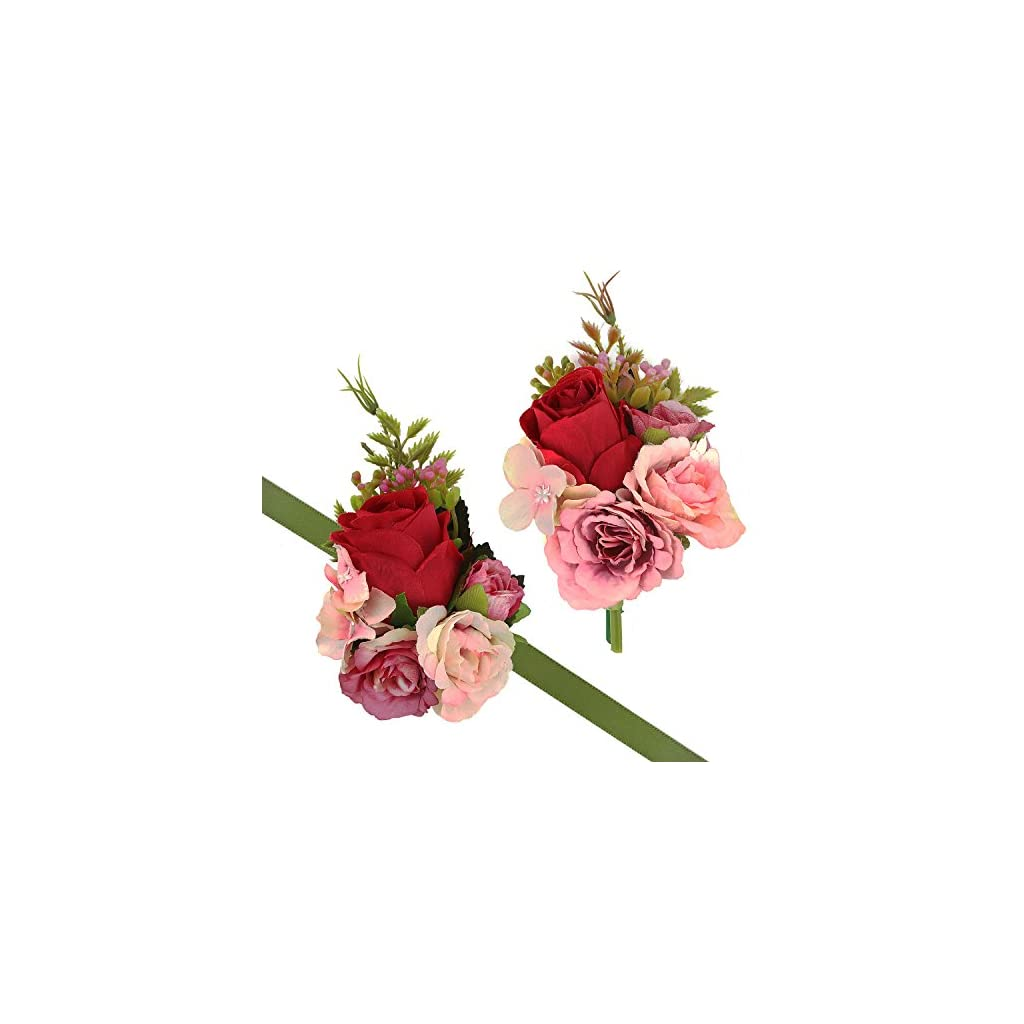 CEWOR-2pcs-Wrist-Corsage-and-Boutonniere-Set-Ribbon-Corsage-Vintage-Artificial-Rose-Boutonnieres-for-Wedding-Boutonnieres-Bride-Bridesmaid-Corsage-Wedding-Decor-Red