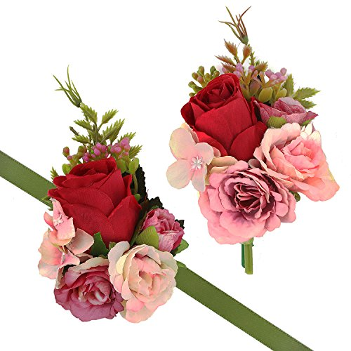 (CEWOR 2pcs Wrist Corsage and Boutonniere Set Ribbon Corsage Vintage Artificial Rose Boutonnieres for Wedding Boutonnieres Bride Bridesmaid Corsage Wedding Decor (Red))