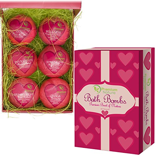 Premium Nature Bath Bombs Gift Set – 6 Organic Essentila Oil Handmade Spa Fizzies, With Cocoa  Shea Butter, Releives pain  Moisturizes Dry Skin by P…
