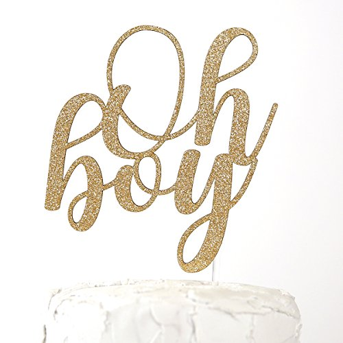 (NANASUKO Baby Shower Cake Topper - Oh boy - Double Sided Gold Glitter - Premium Quality Made in)