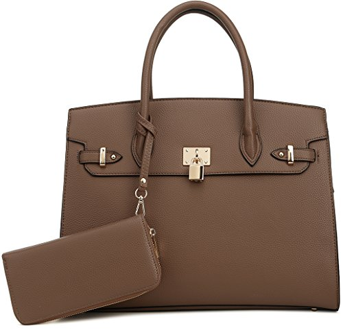 DELUXITY Women's Designer Top Handle Satchel Handbag Tote Bag Briefcase 2pc set | Light Coffee