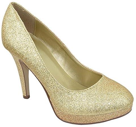 Delicious Comfort Women Classic Stiletto Slim High Heels Pumps Platform Round Toe EIFFEL Champagne Gold Glitter - Stiletto Heel Classic Pumps