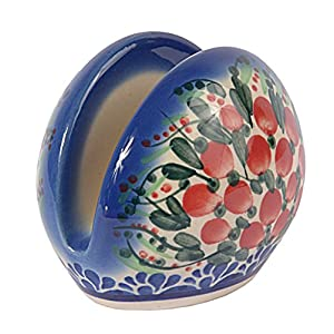 Traditional Polish Pottery, Handcrafted Ceramic Serviette Holder, Height 7cm, Boleslawiec Style Pattern, D.703.Cranberry