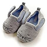 Halluci Kids' Cute Mouse Cotton Memory Foam House Slippers w/Long Ear (10 M US Toddler, Grey)