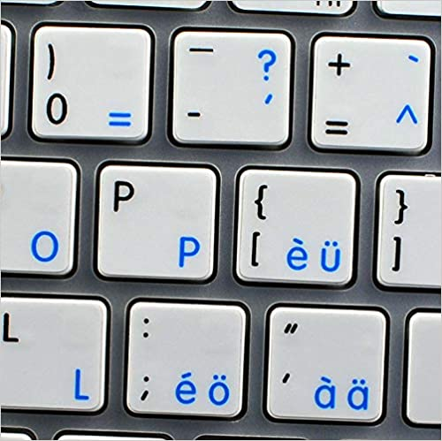LAPTOP AND NOTEBOOK MAC NS SWISS ENGLISH NON-TRANSPARENT KEYBOARD LABELS WHITE BACKGROUND FOR DESKTOP
