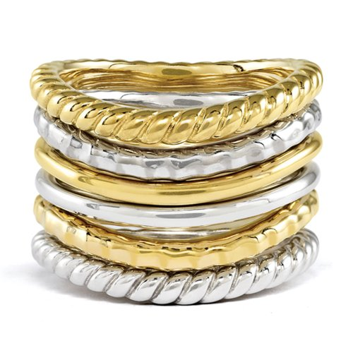 - Sterling Silver & 14K Yellow Gold Plated Curved Band Stackable Ring Set Size 8