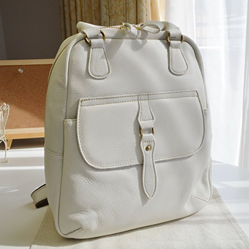 - Rucksack. Genuine Cow Leather . White . Backpack for Women & Girls . Made in Japan