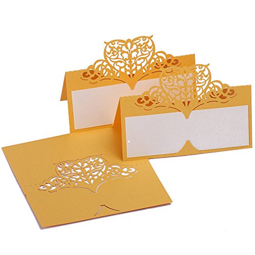 60pcs Laser Cut Wedding Table Name Place Cards Personalised Reception Decoration with Gold Lace Pattern Cardstock for Wedding ()