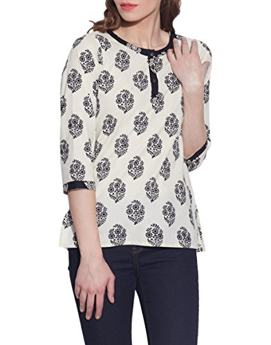 Cream Printed 3-Button Women's Cotton Top - Unique Fashions For Women - Artisan Made In - Sale Online Shopping Discount India