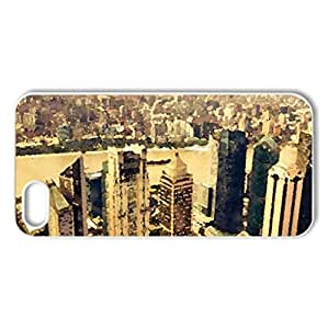 golden cityscape - Case Cover for iPhone 5 and 5S (Skyscrapers Series, Watercolor style, White)