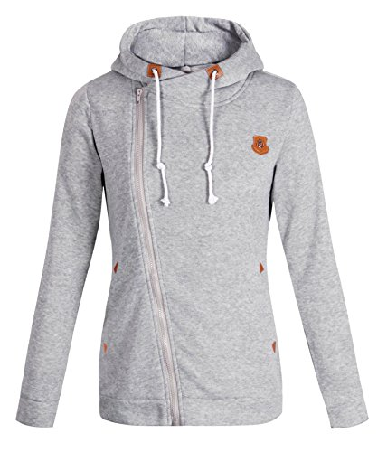 LANOU ELFIN Women's Funnel Neck Oblique Zipper Hoodie Sweatshirt (Funnel Collar Coat)