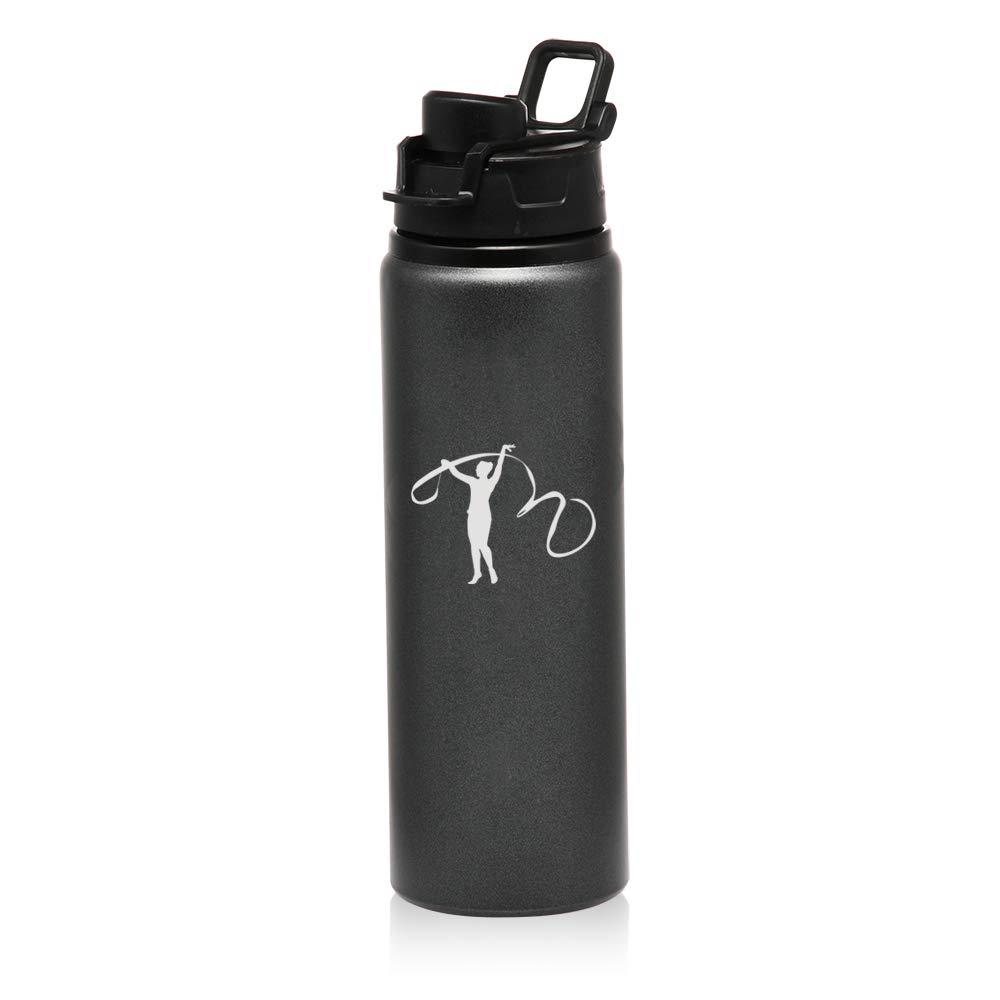 MIP ブランド 25オンス アルミニウム スポーツ 水 旅行 ボトル 新体操 リボン B07GX2NM7K チャコールグレー