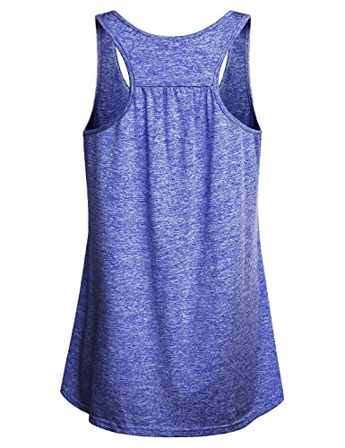 Miusey Tank Tops for Women, Juniors Sleeveless Scoop Neck Activewear Yoga Running Workout Blank Athletic Gym Sports Stretchy Fitness Cozy Vibrant Shirt Blue M by Miusey (Image #1)