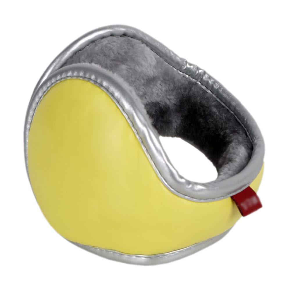 Aowufan Men And Women PU Winter Ear Protection Ear Cover Adjustable Earmuffs (Yellow)