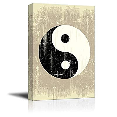 Canvas Prints Wall Art - A Grunge Background with a Yin Yang Symbol for a Publicity - 16
