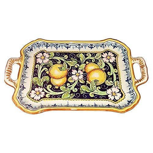 CERAMICHE D'ARTE PARRINI - Italian Ceramic Art Coffee Caffè Serving Tray Plate Decorated Lemon Pottery Hand Painted Made in ITALY Tuscan