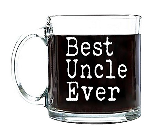 P&B Best Uncle Ever, Father's Day Unique Birthday Gift for Dad, Coffee Tea or Beverages, Clear Glass Mugs 13 oz. G105