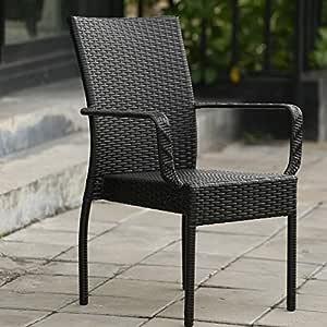 QQXX Sillón de jardín para Exterior, Silla de Mimbre para Patio Informal/balcón Abierto/jardín, Silla de Mimbre para Muebles de Exterior: Amazon.es: Hogar