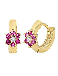 18k Gold Plated Hot Pink Clear Crystal Flower Hoop Earrings for Girls Kids 0.39""
