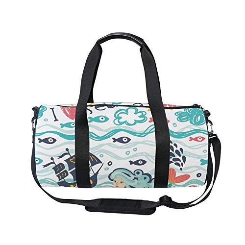 Sports Bag Hand Drawn Underwater World Mens Duffle Luggage T