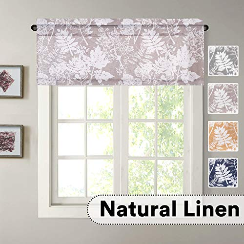 H.VERSAILTEX Natural Linen Blended Home Decor Rod Pocket Window Treatment Leaf Printed Rich Linen Valances for Kitchen, Bath, Bedroom, Living Room (52