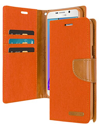 Galaxy J3 2017 Wallet Case with Free 4 Gifts [Shockproof] GOOSPERY Canvas Diary [Ver. Magnetic] Card Holder with Kickstand Flip Cover for Samsung GalaxyJ32017 - Orange, J32017-CAN/GF-ORG