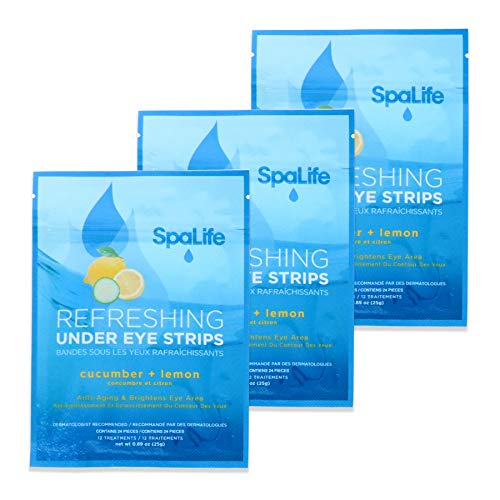 SpaLife Anti-Aging Under Eye Strips Reduce Dark Circles, Wrinkles and Fine Lines - 36 Treatments (Cucumber + Lemon)