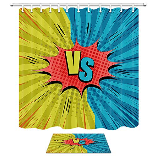 Blue Vs Red Wallpaper - DYNH Humor Comic Vs Shower Curtain Bath Rug Set, Two Yellow and Blue Sides Red Speech Bubble Rays Radial Effects, 69X70in Fabric Bathroom Curtains with 15.7x23.6in Flannel Non-Slip Floor Doormat Rugs
