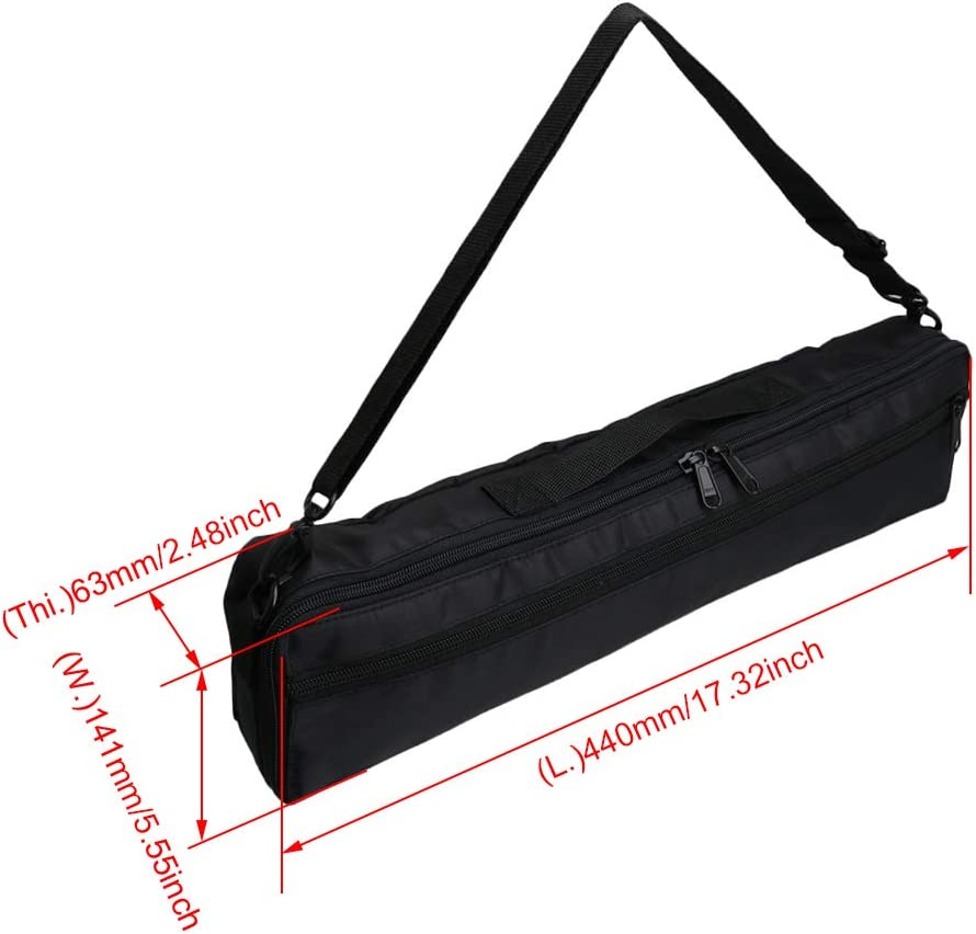 Waterproof Flute Case for 17 Holes Flute with Adjustable Shoulder Strap Black