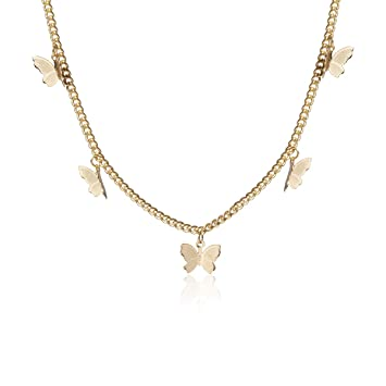 NEW Trendy Gold Butterfly Statement Necklaces Pendants Woman Chokers Collar