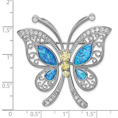 - Sterling Silver Rhodium Plated Blue Synthetic Opal Yellow Clear Synthetic CZ Butterfly Pin