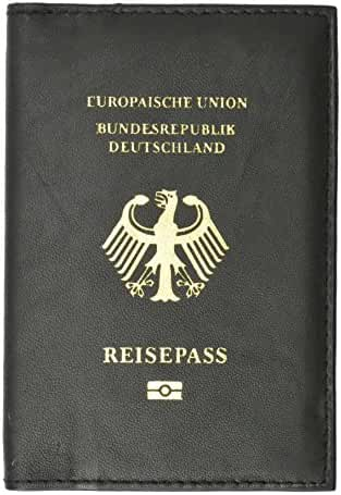 Genuine Leather Passport Wallet, Cover, Credit Card Holder with German Emblem Imprint for International Travel