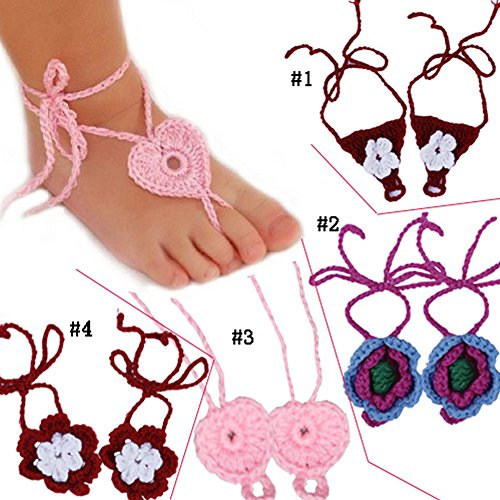 Pack of 4 Assorted Color Baby Girls Photo Shoot Accessories Handmade Knit Barefoot Sandals for Shower Gift; Flower Infant Shoes Photo Props Favor