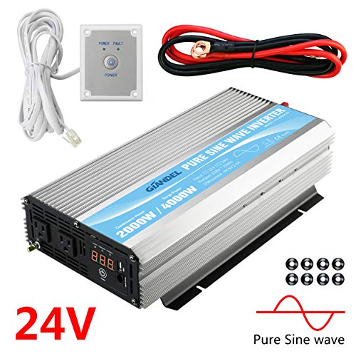 GIANDEL 2000W Pure Sine Wave Power Inverter DC 24V to AC120V with Dual AC Outlets with Remote Control 2.4A USB and LED Display
