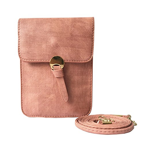 PU Leather Vertical Cellphone Pouch/Purse Wallet for iPhone 7/6/6s Plus Single Shoulder Strap Bag Mini Crossbody Bag for Girl Women (Dusty (Dusty Bag)