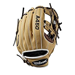"""The A450 line of Wilson gloves are designed to look like Pro stock WTA04RB191075 gloves worn by some of the top players in Major League Baseball. This blonde, dark brown and black 10.75"""" h-web WTA04RB191075 is perfect for young players lookin..."""