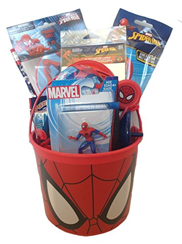 Marvel Spiderman Small Bucket of Fun Set Perfect for Easter Basket, Birthday Gift, or Any Other Special Occassion