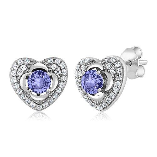 1.22 Ct Round Blue Tanzanite 925 Sterling Silver Heart Earrings