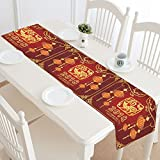 InterestPrint Traditional Chinese New Year of Dog Polyester Table Runner Placemat 16 x 72 inch, Traditional New Year Dog Tablecloth for Office Kitchen Dining Wedding Party Home Decor