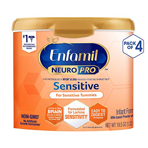 Enfamil Enfamil Neuropro Sensitive Baby Formula, Powder Can, 19.5 Ounce, Pack of 4