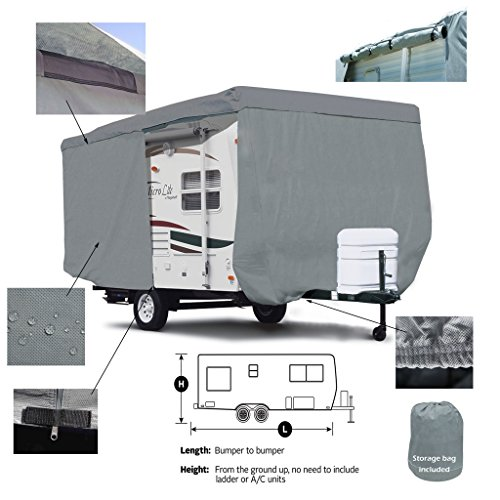 SavvyCraft Deluxe Travel Trailer cover w/Access Panels Fits 17'-18'L
