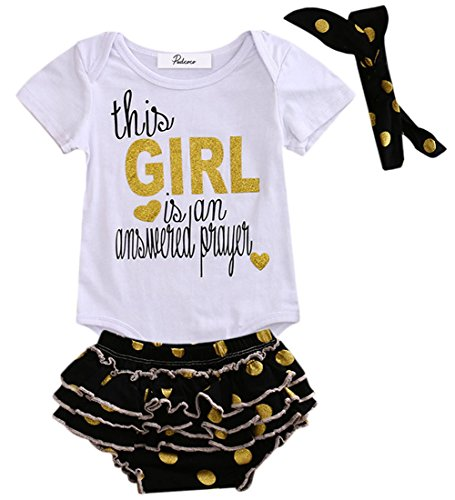 Baby Girl 3pcs Set Letters Print Bodysuit and Gold Polka Dots Ruffle Shorts Outfit with Headband (0-3M, White+black) (Answered Prayer)