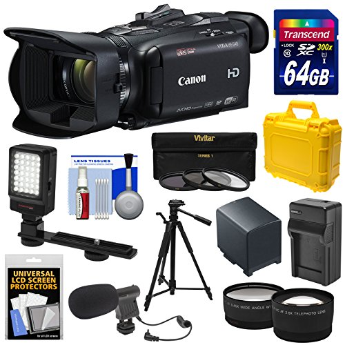 Canon Vixia HF G40 Wi-Fi 1080p HD Digital Video Camcorder with 64GB Card + Battery & Charger + Hard Case + Tripod + LED + Mic + Tele & Wide Lens Kit (Canon 5d Mark Iii Flash Bracket)
