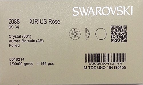 34ss Crystal (34ss Crystal AB 144 SWAROVSKI #2088 XIRIUS Rose Flatback Rhinestones Wholesale FULL Pack)