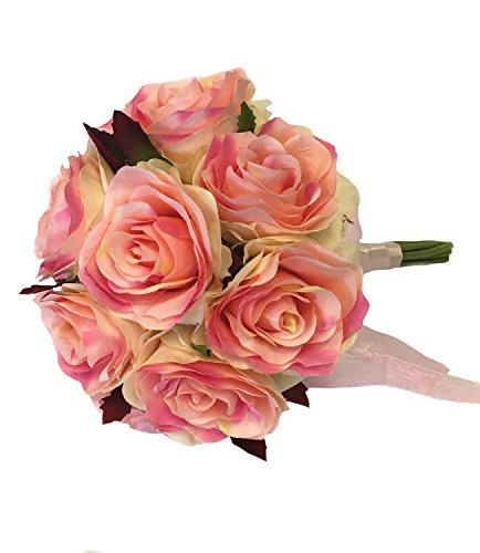 Keepsake Artificial Rose Bouquet(XLBQ001-PPK) /centerpiece/table top flower (Peach and Pink) (Centerpieces For Quinceanera)